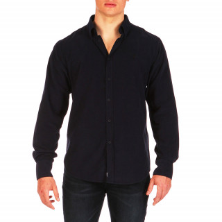 Plain navy blue long-sleeved velour shirt 100% cotton