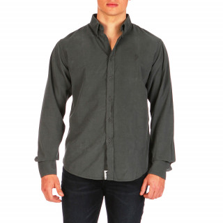 Plain grey long-sleeved velour shirt 100% cotton
