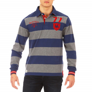 Blue/grey striped long-sleeved polo shirt