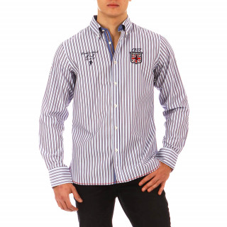 Blue Ruckfield shirt with white and burgundy stripes