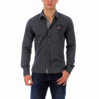 Gray Ruckfield shirt with contrast chambray and embroidered logos. Light, stretchy and made of cotton and polyamide blend, this shirt is a combination of comfort and style! Available in larger sizes up to 4XL.