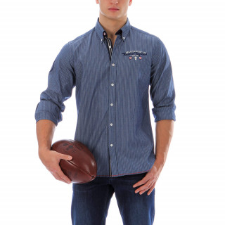 Long-sleeved striped Ruckfield shirt with a pointed button-down collar, regular fit, overlapping cuffs with a curved hemline. Logos are embroidered on the chest, on the back and on a sleeve. Sizes available: up to 5XL.