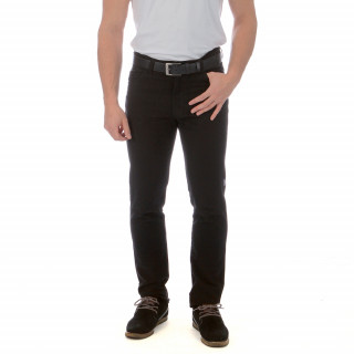 Black 100% cotton regular-fit Ruckfield trousers. Sizes available: 38 to 56.