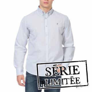 Chemise à manches longues grise brodée pour homme.