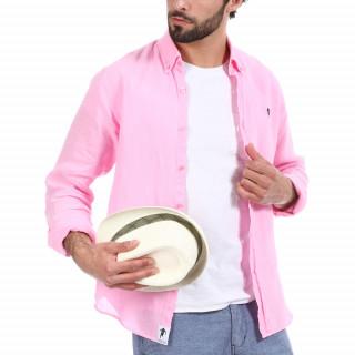 Chemise manches longues en lin rose avec logo brodé à la poitrine.