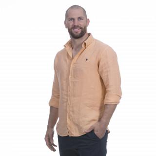 Chemise manches longues en pur lin orange avec logo brodé à la poitrine.
