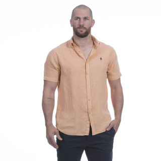 Chemise manches courtes en lin orange avec broderie poitrine
