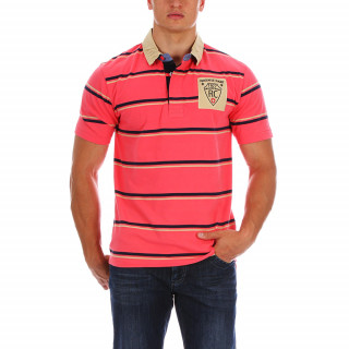 Striped cotton jersey polo shirt with chest embroidery.Available from S to 5XL