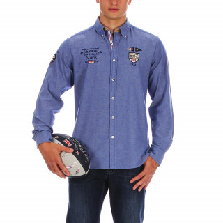 Long-sleeved Chambray cotton shirt with embroidery on the chest and upper back.Available in large sizes up to 5XL.