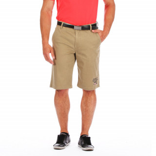 Beige Ruckfield Outdoor shorts. Cotton Lycra mix, it has embroideries on the thigh and rear. Available in large sizes up to 5XL.