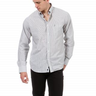 Chemise manches longues grise à rayures avec broderie Chabal sur la poitrine.