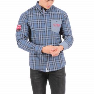 Chemise manches longues à carreaux et poche contrastée.Logo brodé poitrine et manche.