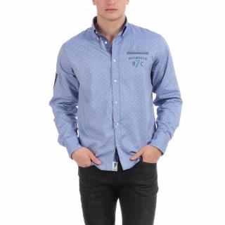 Chemise manches longues bleue Rugby Seven en 100% coton avec logos brodés.