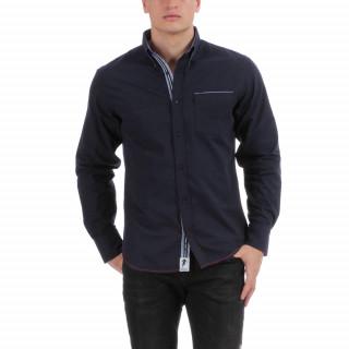 Chemise manches longues regular fit en coton imprimé bleu, poche passepoilée, tissu contrasté et logo brodé.