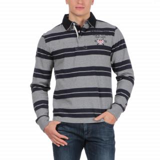 Polo en coton jersey gris avec rayures et col marine.Logos brodés poitrine.