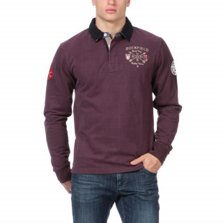 Polo en coton jersey manches longues de couleur bordeaux avec col contrasté et broderies poitrine et manche.