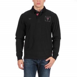 Polo de rugby en coton jersey noir avec détails de couleur fuchsia et patch imprimé poitrine et dos.