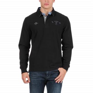 Polo manches longues en coton jersey noir avec logos brodés poitrine et dos.