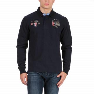 Polo manches longues en coton jersey bleu the crunch avec broderies poitrine.