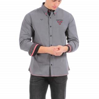 Chemise manches longues en coton gris rugby avec broderies poitrine et dos.