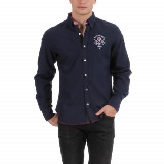 Chemise en coton bleu imprimé avec broderies Rugby Camp US.