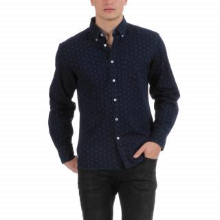 Chemise manches longues à imprimé bleu avec broderie ton sur ton France.