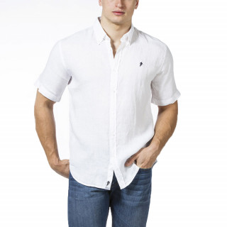 Linen short sleeve shirt with embrodery on chest.