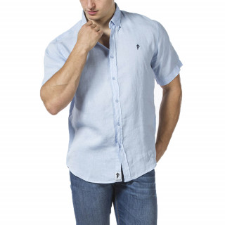 Light blue linen shirt with short sleeves and embroidery on chest.