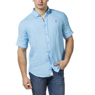 Turquoise linen shirt Ruckfield with short sleeves and embroidered logo on patch pocket.