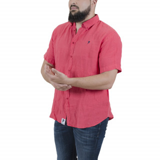 Fuschia linen  shirt with embrodery short sleeves on chest.