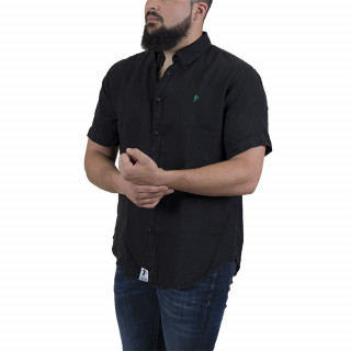 Black linen  shirt with short sleeves and embrodery on chest.