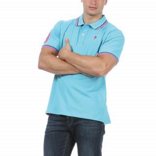 Polo manches courtes en coton piqué turquoise.