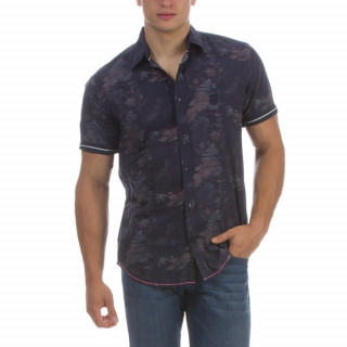 Short sleeve shirt by Ruckfield made of cotton with printed floral embroideries on chest.