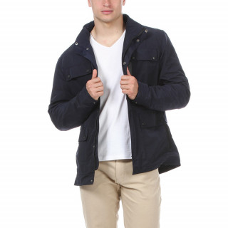 Dark blue polyamide hooded coat with multiple pockets.