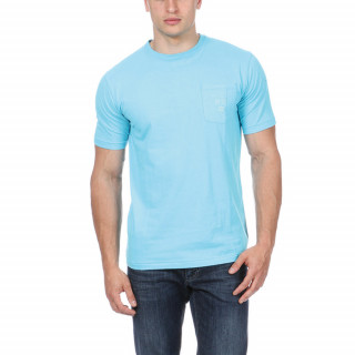 Blue t-shirt made of cotton jersey with patch pocket on chest and embroideries.