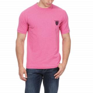T-shirt en coton jersey rose avec logo brodé sur poche poitrine.