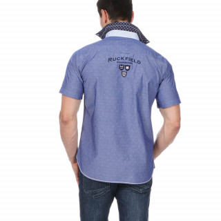 Blue Rugby shirt made of cotton with back and front embroideries.