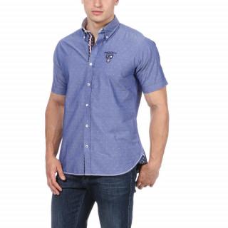 Chemise rugby en coton bleu avec logos brodés poitrine et dos.