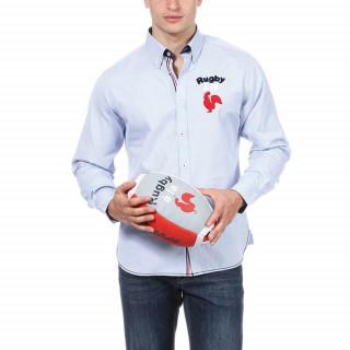 Chemise manches longues en coton bleu ciel avec broderie bouclettes tricolore .