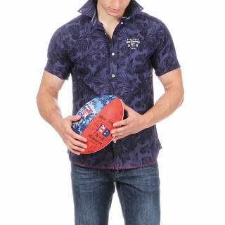 Summer short sleeve shirt with floral prints and embroidery on chest.