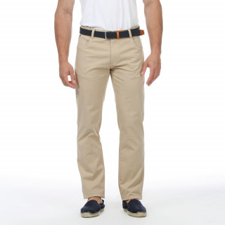 Beige trousers Ruckfield with embroidered logo, 4 pockets and regular fit.