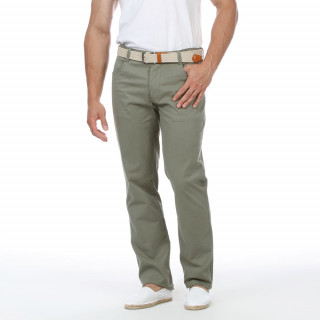 Pantalon kaki avec 4 poches et logo brodé