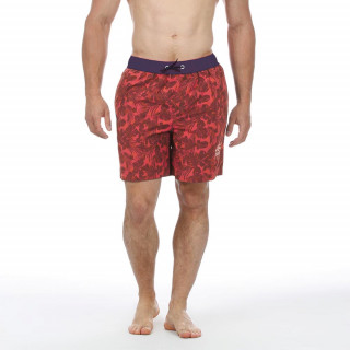 Boardshort made of polyester with prints and embroideries on thigh with elastic belt.