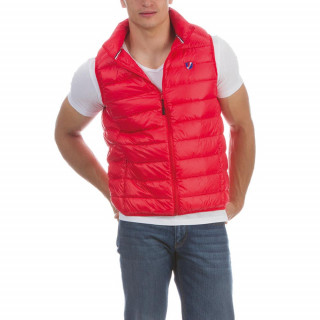 Short sleeve padded jacket made of polyamide with embroideries on chest and button fastening.