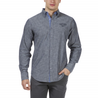 Chemise chambray The Crunch Ruckfield à manches longues, coupe droite et broderies