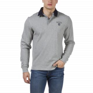 Polo rugby gris à manches longues avec coudières en tissu imprimé et  broderies We are Rugby. Coton jersey 300GSM