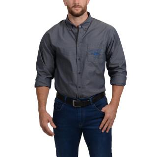 Chemise grise imprimée avec broderies sur poche poitrine et haut du dos