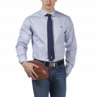 Chemise homme bleue by Ruckfield avec coupe droite et broderies sur torse et col