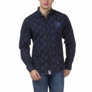 Chemise homme grandes tailles bleu foncé French Rugby Club, à manches longues avec broderies poitrine et dos.