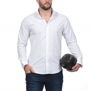Long-sleeved white shirt from the theme of Rugby Essentiel with Sebastien Chabal's logo